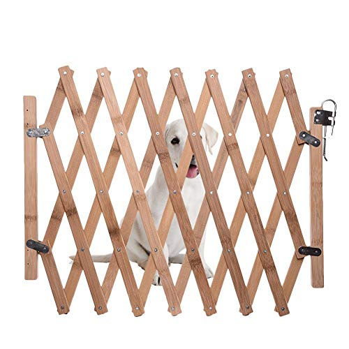 isilky Retractable Gate Expanding Fence Wooden Screen Door Gates Doorways Portable Dog Pet Gate Pet Safety Patio Garden Lawn