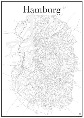 Hamburg Poster – stadskaart wegennet (60 cm x 84 cm) kunstdruk