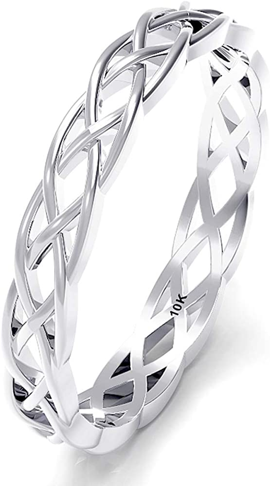 10K White Gold 3MM Eternity Celtic Knot Stackable Wedding Band Ring