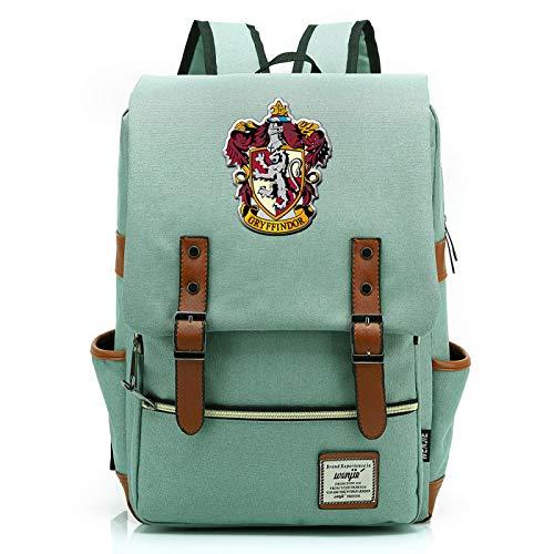 MMZ Harry Potter Mochila Gryffindor Mochila Escolar Señoras Jóvenes Niños Mochila de Viaje Grande Verde