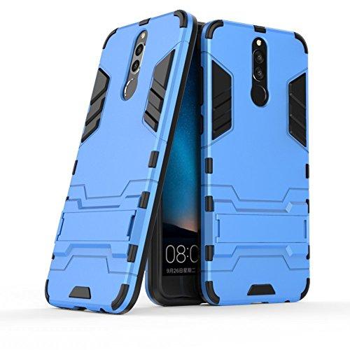 Hoesje voor Huawei Mate 10 Lite/Nova 2i / Honor 9i (5,9 inch Scherm) 2 in 1 Hybrid Rugged Schokbestendige Back Cover met Kickstand Hoes (Blauw)