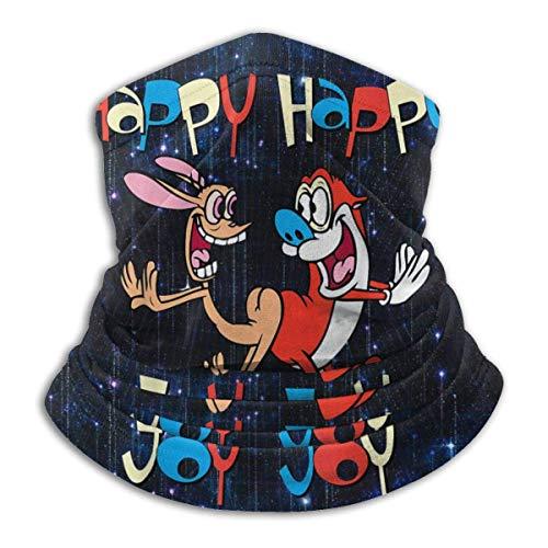 485 Calentador De Cuello para Hombre Mujer,REN Y Stimpy Happy Happy Joy Joy Dance,Cuello Bufanda Adulto Pañuelo De Cabeza Lavable Pasamontañas para Correr Pesca Senderismo