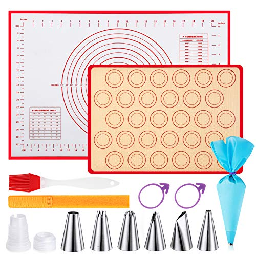 Baking Mats, Pastry Mat, Non Stick Pastry Mat with Measurements, Non-Slip Baking Mat for Rolling Dough, 6 Piping Tip, 1 Piping Bag with 2 Bag Tie, 1 Coupler, Baking Tools Set