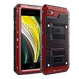 Beeasy Coque iPhone SE 2020 / 8 / 7 Antichoc,IP68 Étanche Protecteur d'Écran Intégré Militaire Robuste Résistant Metal Antipoussière Anti Pluie Neige Étui iPhone SE 2,Housse pour l'extérieur,Rouge