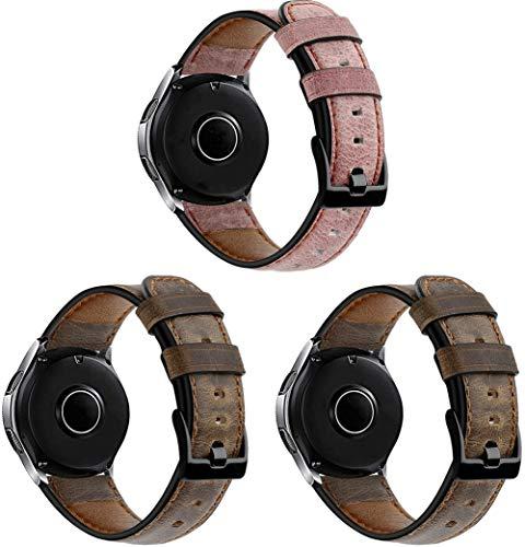 Chainfo Compatible con Huawei Watch GT/GT 2e / GT 2 (46mm) Correa de Reloj De Cuero para Mujer (22mm, 3PCS C)