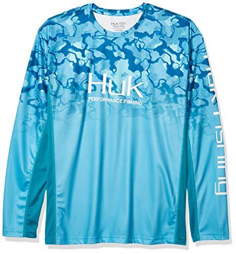 Huk Men's Icon X Camo Fade Shirt | Long Sleeve Performance Fishing Shirt With +50 UPF Sun Protection, North Drop, X-Large
