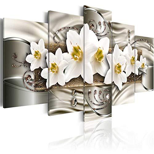 YFFSUN 5 Stück Klassische Blumen Poster Bling Wandkunst Elegante Lilien Blüte Leinwand Malerei Bilder für Wohnzimmer Home Decor