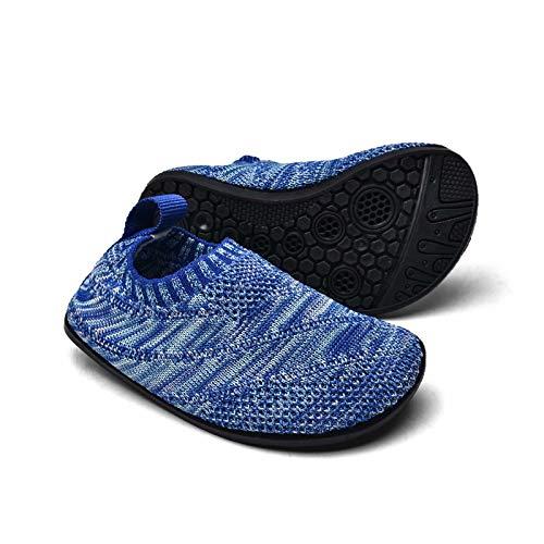 Sosenfer Hausschuhe Kinder Junge mädchen rutschfeste Leichte Pantoffeln für Kleinkinder Hüttenschuhe Slipper unisex-BLAN-19