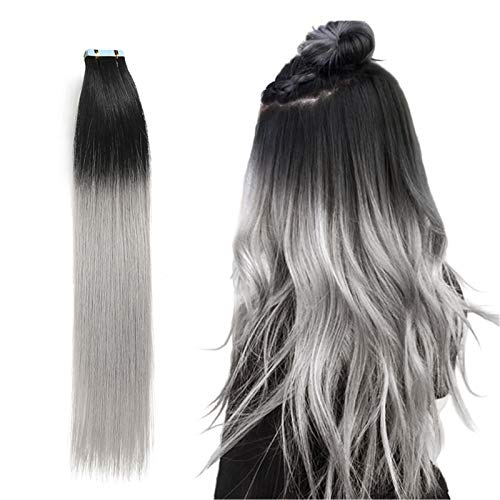 RINBOOOL Black Ombre Tape in Hair Extensions, 14 Inch 40g, Pre-taped, 100 Real Remy Human Hair, Black Rooted to Lightest Grey