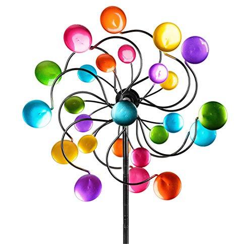 KLP Gartenstecker doppel Windrad Windmühle Metall Blume Windspiel Garten Deko Figur