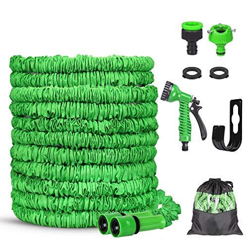 Flexibler Gartenschlauch, 100FT Flexischlauch Wasserschlauch, Schlauch Dehnbar mit 8 Funktionen Sprühdüse, Flexibel Gartenschläuche Adapter 1/2 Zoll & 3/4 Zoll für Gartenbewässerung Haustierreinigung