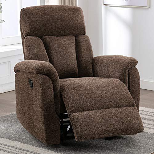 Bonzy Home Glider Recliner Chair for Living Room Reading Chair with Ottoman for Elderly Couch with Manual Pull, Ergonomic Design for Reclining Chair,Mocha