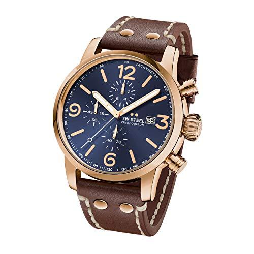 TW Steel Unisex Erwachsene Chronograph Quarz Uhr mit Leder Armband MS84