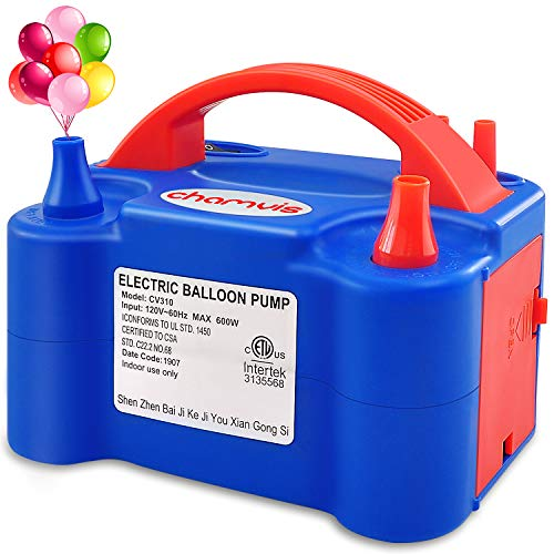 chamvis Electric Balloon Inflator Air Pump Dual Balloons Blowers US Standard Plug for Balloon Garland, Balloon Arch, Balloon Column Stand, and Balloon Decoration [110V~120V, 600W, Blue]