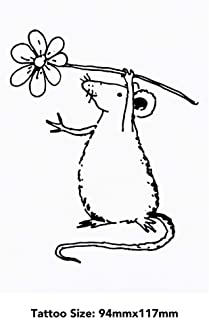 Large 'Rat Holding Flower' Temporary Tattoo (TO00033710)