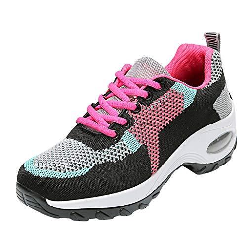 HDUFGJ Sneaker Damen Leichte Atmungsaktiv Weicher Boden Laufschuhe Sportschuhe für Sports Trekking Gym Walkingschuhe Luftpolster Sportschuhe Freizeitschuhe Straßenlaufschuhe OutdoorRosa(35.5)