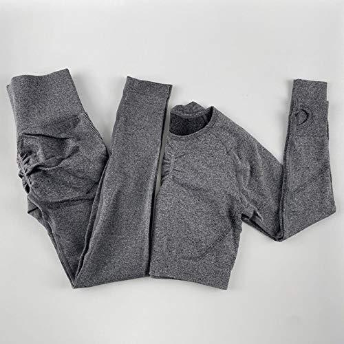 GUOYANGPAI Sistemas inconsútiles del Gimnasio, Sistema de los Pantalones de Las Polainas de la Cintura Alta, Camisa de Manga Larga de la Aptitud Femenina,Conjunto Gris Oscuro,L