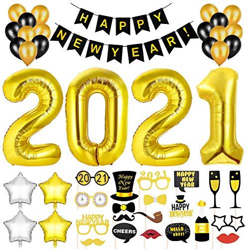 GOLDGE 2021 Decorazioni Festa Capodanno, 32inch Numero 2021 Palloncino Foil + Festone di Buon Anno + Palloncini in Lattice + Palloncino Stella a Cinque Punte + Accessori Foto Booth