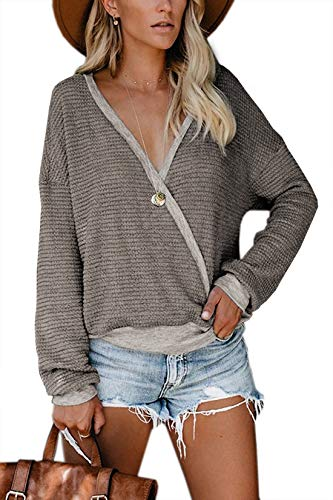 Albe Rita Womens Deep V Neck Wrap Sweaters Long Sleeve Waffle Knit Tops Shirts Pullover, Khaki, XL