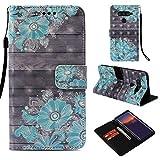 DodoBuy LG V50 ThinQ Hülle 3D Flip PU Leder Schutzhülle Stand Handy Tasche Brieftasche Wallet Hülle Cover für LG V50 ThinQ - Blume Blau