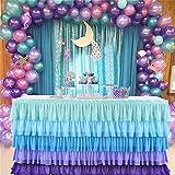 LinTimes - Gonna da tavolo in tulle con nappa, fatta a mano, con filo colorato, decorazione da tavolo per matrimoni, feste, baby shower, colore: blu/viola