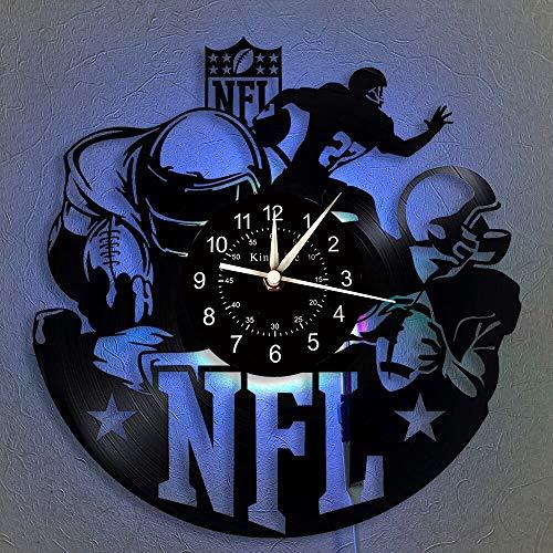 BFMBCHDJ Reloj de fútbol Americano Reloj de Pared con Registro de Vinilo Reloj de Pared LED Reloj de Pared Luminoso de 7 Colores Regalos para niños y Amigos con LED de 12 Pulgadas