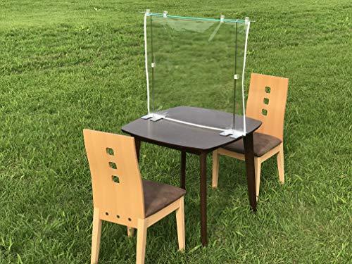 飛沫感染・防止透明テーブル仕切り (2人掛け用/防炎シール付) (2人掛け用:横60cm × 高さ70cm/防炎シール付)