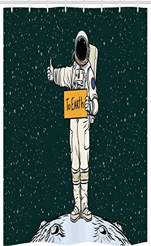 ABAKUHAUS Lustig Schmaler Duschvorhang, Trampen Astronaut, Badezimmer Deko Set aus Stoff mit Haken, 120 x 180 cm, Dunkles Blaugrün