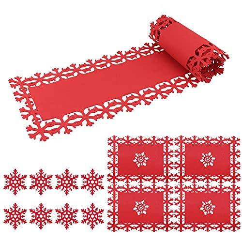 Set runner natalizi in feltro, 1 Runner di Natale, 4 Pezzi Tovaglietta natalizia, 8 Pezzi sottobicchieri natalizi, decorazioni natalizie per la tavola delle vacanze di Natale con fiocchi di neve