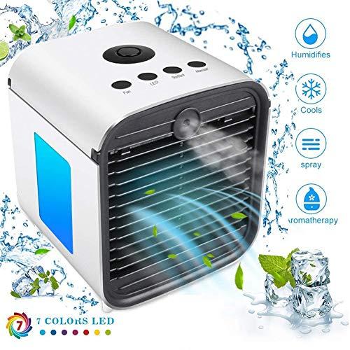 Climatiseur Mobile Portable Refroidisseur d'air Cooler USB Alimenté Ventilateur, 3 en 1 Mini Climatiseur Humidificateur Purificateur, avec 7 Couleurs LED Light pour Maison Bureau Dortoir