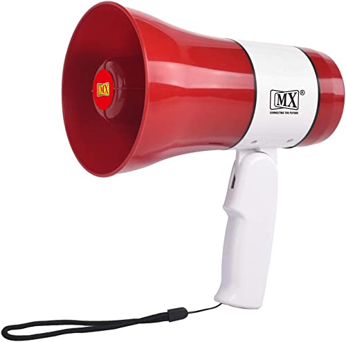 MX Professional Megaphone with Talk Record Play Siren Music USB and TF Plugs 30 Watts