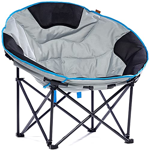 Skandika Moonchair XXL | Großer, bequemer Campingstuhl, Camping Sessel rund, Mondsessel, gepolstert, klappbar, Tragetriff und Tragetasche, Anti-Rutsch-Füße, sehr robust | max. 150 kg (grau)