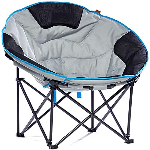 Skandika Moonchair Deluxe XXL - Sedia da campeggio pieghevole - Peso massimo di carico 150 kg -Borsa per trasporto (grigio)