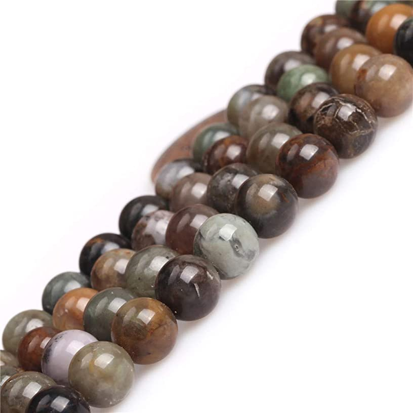 JOE FOREMAN Brown Ocean Jasper Agate Gemstone Beads for Jewrlry Making Strand 15
