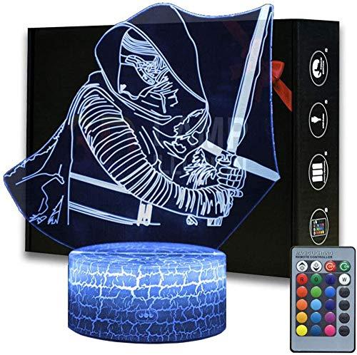 3D ilusión Star Wars luz nocturna, 16 colores cambiantes lámpara de decoración con control remoto, regalo perfecto para niños y fans de Star Wars (MY191-Kylo Ren)
