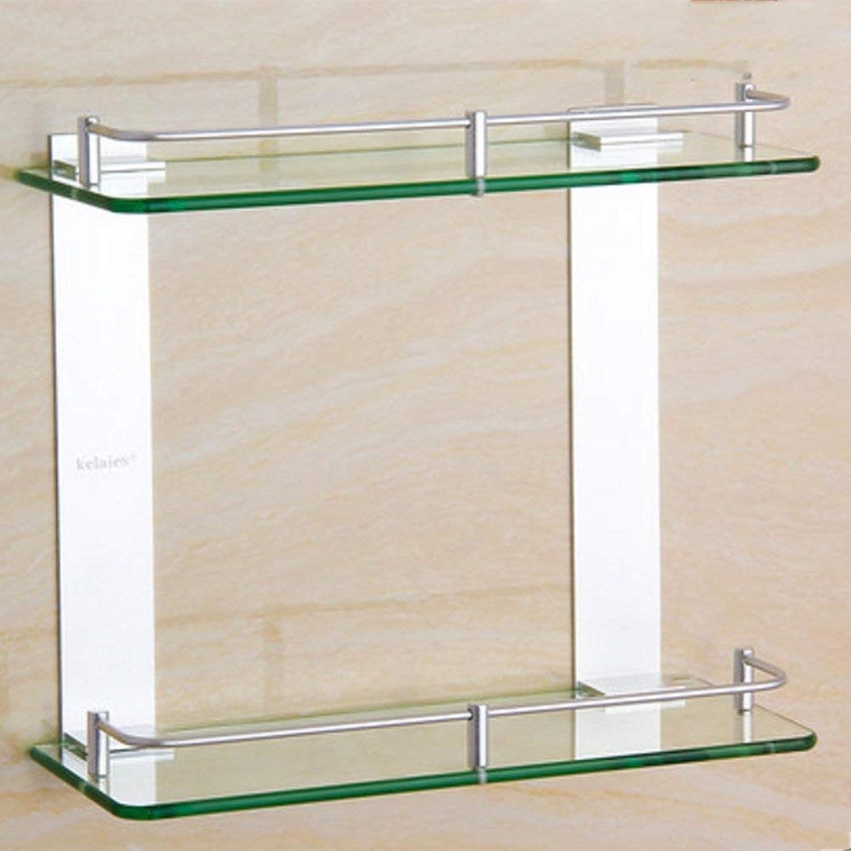 GFF Shelf Space Aluminum Shelves Two-Tier Glass Shelves Bathroom Shelves Double Square Racks (Size   50cm)