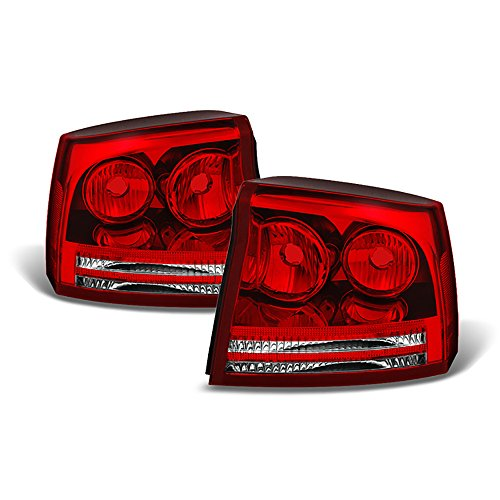 Driver + Passenger Side OE-Style Red Lens Tail Light Housing Lamp Assembly Replacement For 2006-2008 Dodge Charger