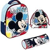 REQUETEGUAY Mochila Mickey Mouse Disney 3D Infantil Niños (32 cms) + Estuche Mickey Mouse Portatodo + Bolsa Mickey Mouse para Merienda