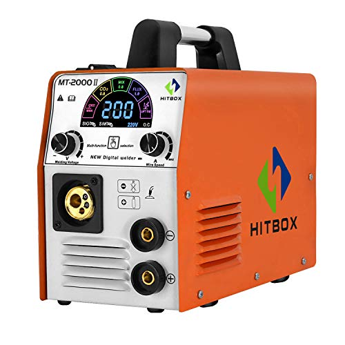 HITBOX MIG Welder 185A 220V Color Smart LCD Display IGBT Inverter Multifunction MIG MMA Lift TIG Stick Gas Mix Gases Gasless Flux Cored Wire Solid Core Wire Welding Machine MT2000Ⅱ
