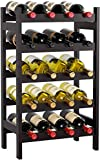 HOMECHO Bamboo Wine Rack, Floor Wine Storage Rack, 20 Bottles Holder, Freestanding Display Rack for...