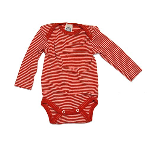 Cosilana Baby-Body, 70% Wolle, 30% Seide, für Baby Gr. 1 Monate, Rouge - Rouge à rayures