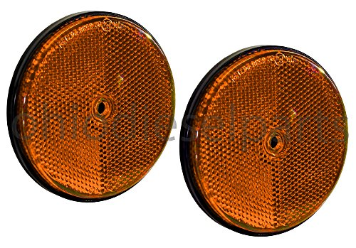 Ohio Diesel Parts 3-1/2 Inch Truck Tractor Trailer Round Amber Reflector Stud-Mounted 3.5' 2-Pack