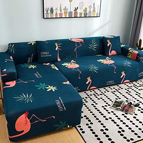 Fundas Sofas 3 y 2 Plazas Ajustables Flamenco Azul Oscuro Fundas Sofa Elasticas,Funda de Sofa Chaise Longue,Moderna Cubre Sofa,La Funda para Sofa Jacquard de Poliéster (195-230cm)