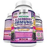 Premium Elderberry Capsules with Zinc and Vitamin C - Powerful Triple Immune Support Supplement with Bioperine Black Pepper for Superior Absorption - Non GMO - 120 Vegan Sambucus Elderberry Pills