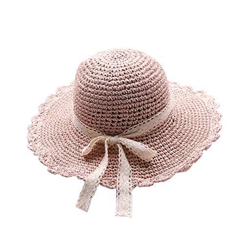Sombrero de Paja Niña Gorra de Playa de Verano Sombrero de Sol Plegable Gorra Sol Transpirable al Aire Libre de Viaje Sunscreen Cap Sombrero de Panama Bowknot Sombrero Verano UPF 50+