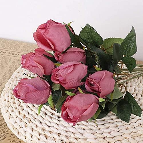 AMOZ Lot de 3 Bouquets de Fleurs Roses En Soie Artificielle, Faux Bouquet de Roses Fausses Fleurs Avec 9 Branches 9 Têtes D'Arrangement Pour La Décoration de Restaurant de Bureau À Domicile de Fête d