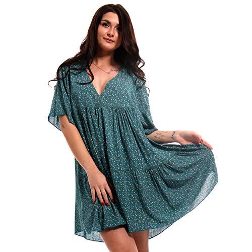 YC Fashion & Style Damska tunika, sukienka w kwiaty, długa koszulka, styl boho, czas wolny, minisukienka lub sukienka plażowa, Jumper HP248, Made in Italy (rozmiar uniwersalny)