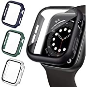 LORDSON 4 Pack Hard PC Case Compatible with Apple Watch SE/Series 6/5/4 40mm, Matte Bumper Case with Tempered Glass Screen Protector Cover Compatible with iWatch Series SE/6/5/4