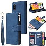 LBYZCASE Phone Case for Galaxy A10E 2019,Samsung A10e Wallet Case,Luxury Folio Flip Leather Cover[Zipper Pocket][Wrist Strap][Kickstand ][Magnetic Closure] for Samsung Galaxy A10E (Blue)