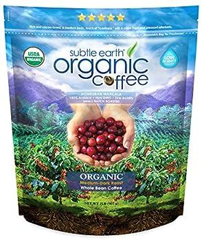 2LB Subtle Earth Organic Coffee - Medium-Dark Roast - Whole Bean - Organic Arabica Coffee -  2 lb  Bag